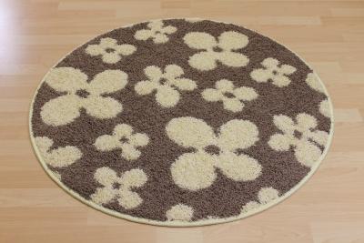 Teppich rund creme  Teppichkiste - Shaggy Teppich Flower Creme Braun Beige Blumen ...