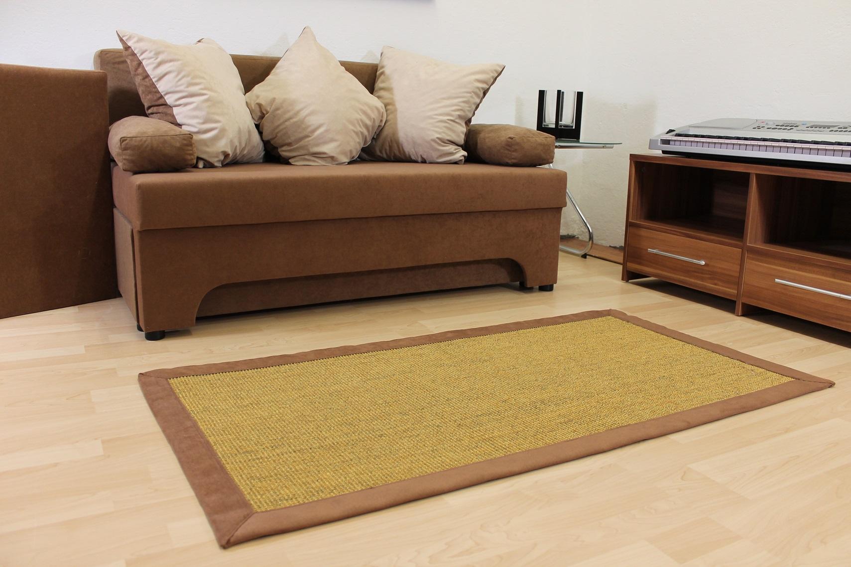 Teppichkiste  Sisal Teppich Braun Nussfarbe 70 x 135 cm
