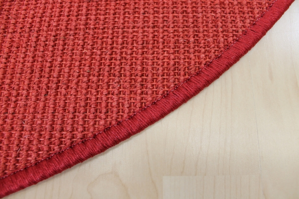Teppichkiste  Sisal Teppich Malta rot Bordüre