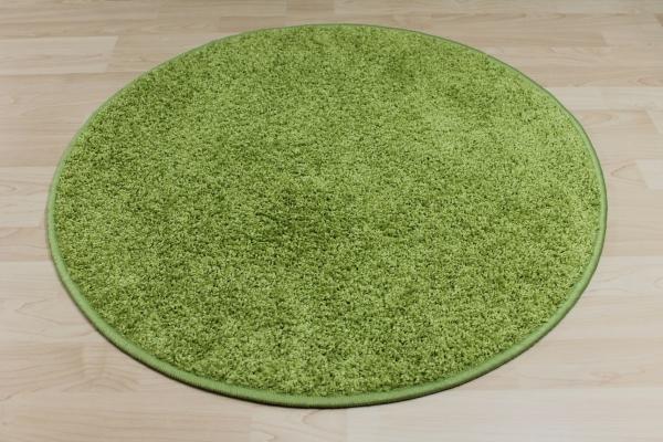 Teppichkiste  Hochflor Shaggy Teppich Merlin grün rund
