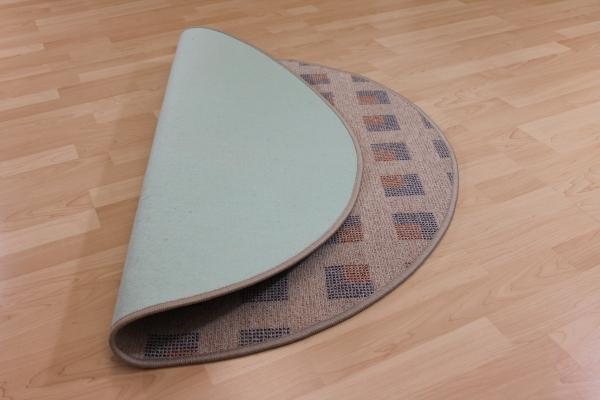 schlingen teppich quadra beige rund quadrat muster blau terra ebay. Black Bedroom Furniture Sets. Home Design Ideas