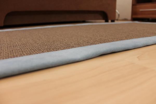 Teppichkiste  Sisal Teppich Braun 70 x 135 cm mit Stoff