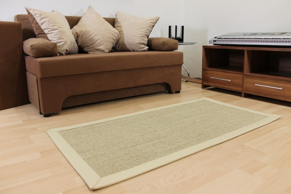 Teppichkiste  Sisal Teppich Beige Creme 70 x 135 cm mit