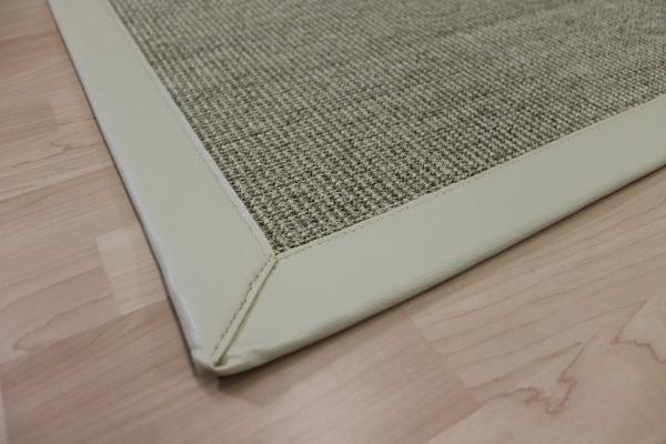 sisal teppich beige 70 x 135 cm mit kunst leder einfassung creme weiss sopo17 ebay. Black Bedroom Furniture Sets. Home Design Ideas