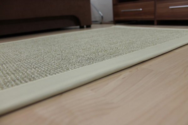 sisal teppich beige 70 x 135 cm mit kunst leder einfassung creme weiss sopo17 ebay. Black Bedroom Furniture Sets. Home Design Ideas
