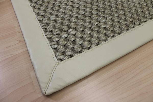 sisal teppich beige 70 x 135 cm mit kunst leder einfassung creme weiss sopo21 ebay. Black Bedroom Furniture Sets. Home Design Ideas