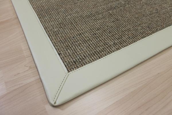 sisal teppich beige 70 x 135 cm mit kunst leder einfassung creme weiss sopo23 ebay. Black Bedroom Furniture Sets. Home Design Ideas