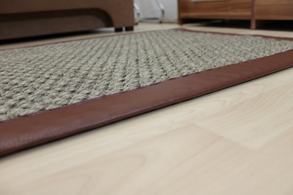sisal teppich braun 70 x 135 cm mit kunst leder einfassung braun sopo28 ebay. Black Bedroom Furniture Sets. Home Design Ideas