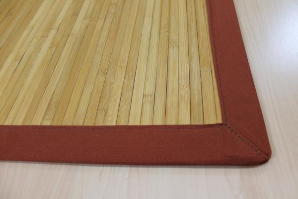 Teppichkiste  Bambus Teppich Naturfarbe grob mit Baumwoll