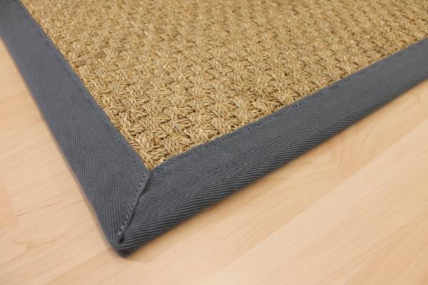 seegras teppich nuss braun 70 x 135 cm mit baumwoll einfassung blau sopo07 ebay. Black Bedroom Furniture Sets. Home Design Ideas